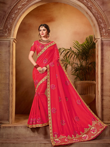 Red Two Tone Silk Saree With Red Blouse