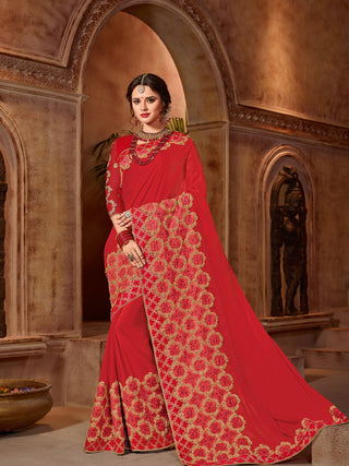 Red Georgette Saree With Red Blouse