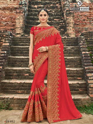Red Silk  Party Wear  Saree With Red Blouse