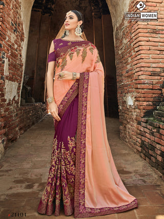 Peach Purple Two Tone Silk Party Wear  Saree With Pulple Blouse