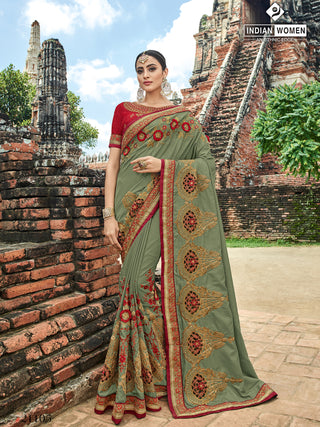 Olive Green(Mehendi) Silk  Party Wear  Saree With Red Blouse