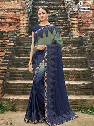 Grey Violet Two Tone Silk Party Wear  Saree With Violet Blouse