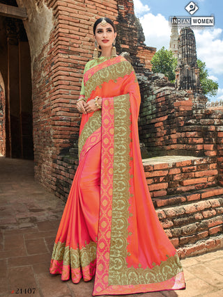 Orange Peach Two Tone Silk Party Wear  Saree With Light Green Blouse
