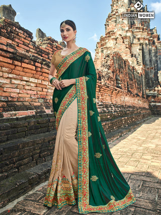 Green Beige Two Tone Silk Party Wear  Saree With Beige Blouse