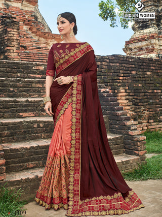 Maroon Peach Two Tone Silk Party Wear  Saree With Maroon Blouse