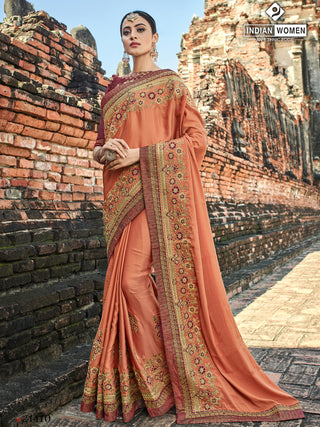 Peach Two Tone Silk Party Wear  Saree With Maroon Blouse