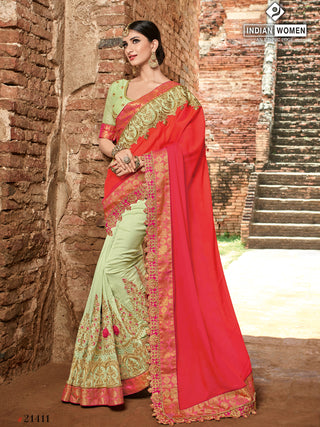 Red Light Lime Green Two Tone Silk Party Wear  Saree With Light Lime Green Blouse