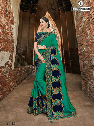 Green Two Tone Silk Party Wear  Saree With Violet Blouse