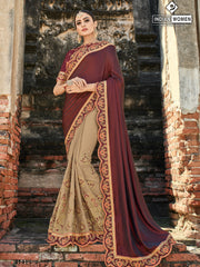 Maroon Beige Two Tone Silk Party Wear  Saree With Maroon Blouse