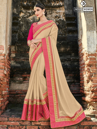 Beige Two Tone Silk Party Wear  Saree With Magenta Blouse
