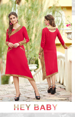 Red knee length designer kurti