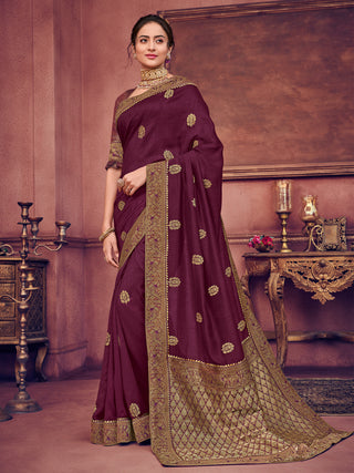 Purple Two Tone Silk Party Wear Saree With Blouse
