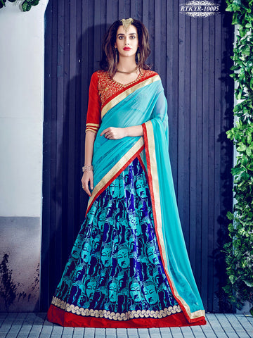 SkyBlue,Banglori Silk,Heavy designer lehenga with embroidery work