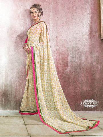 Saree Cream,Georgette