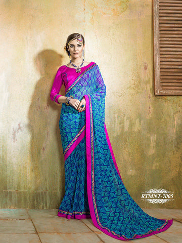 Saree Blue,Georgette