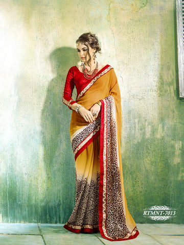 Saree Golden,Georgette