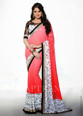 Peach Orange White and Black Saree with  Net Blouse