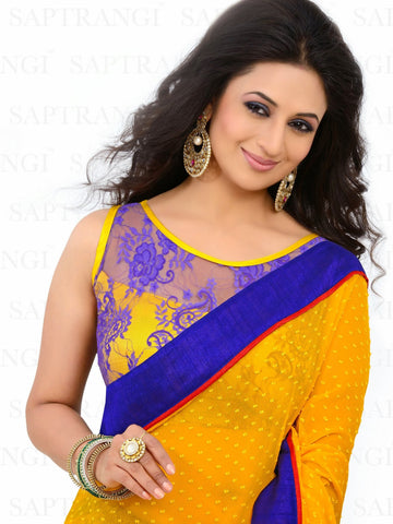 Bamberg Poly Georgette Printed Yellow And Blue Saree