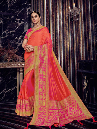 Orange  Pink Silk Party Wear Saree With Pink Blouse