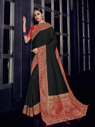Black Silk Party Wear Saree With Red Blouse