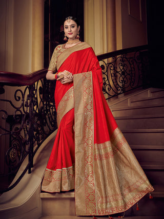 Red  Gold Silk Party Wear Saree With Golden Blouse