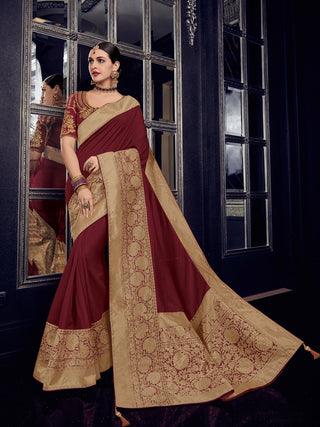 Maroon  Gold Silk Party Wear Saree With Maroon Blouse