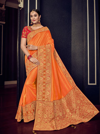 Yellow  Gold Silk Party Wear Saree With Red Blouse