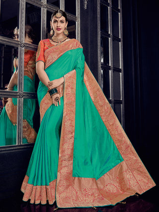 Green  Gold Silk Party Wear Saree With Orange Blouse