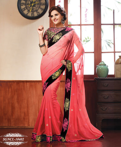 Saree Pink,Georgette