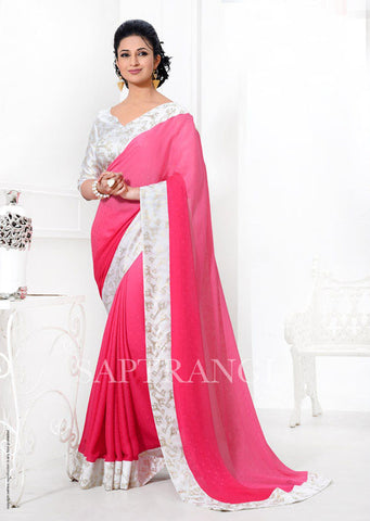 Printed Shaded Pink and White Party Wear Crepe Silk Saree