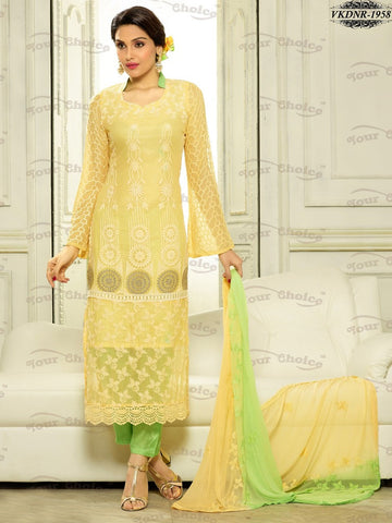 Straight long party wear suits,LimeGreen,Pure Chiffon
