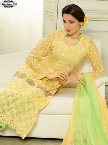 Yellow designer straight long knee length straight salwar suits