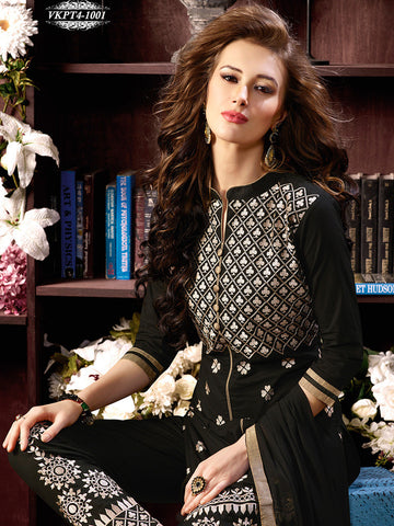 Black straight keen length long designer suits with chiffon dupatta