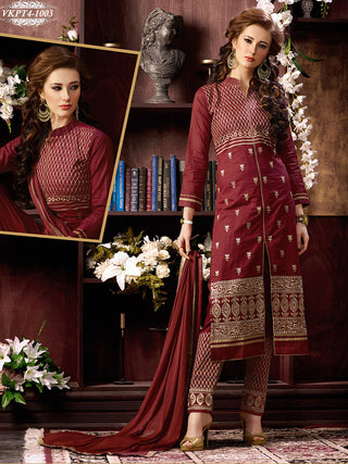 Maroon designer straight knee length salwar suits