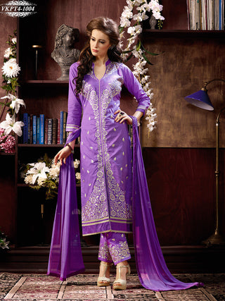 Dark violet designer knee length long straight salwar suits