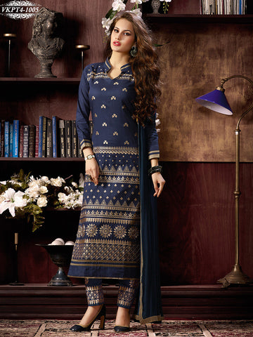 Blue,Leon,designer suits,suits,party wear suits,work embroidery,heavy suits,straight suits,panta,salwar suits,salwar
