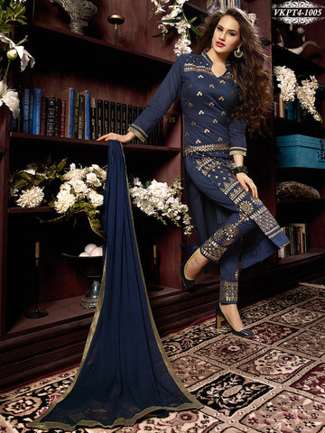 Designer straight long knee length blue salwar suits