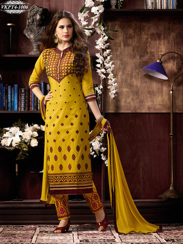 Yellow designer straight long knee length salwar suits with embroidery work