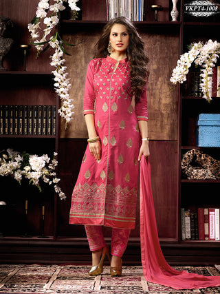 Pink designer straight knee length long salwar suits