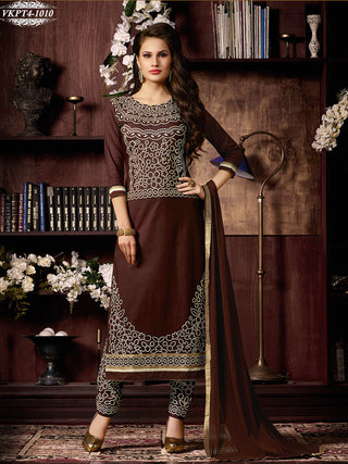 Brown designer straight knee length long salwar suits