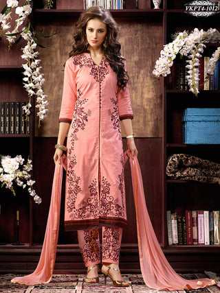 Pink designer straight knee length long suits