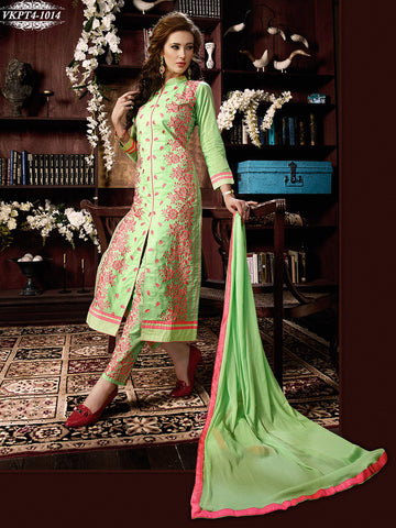 Green straight knee length long designer salwar suits