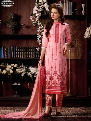 Pink designer straight knee length long salwar suit