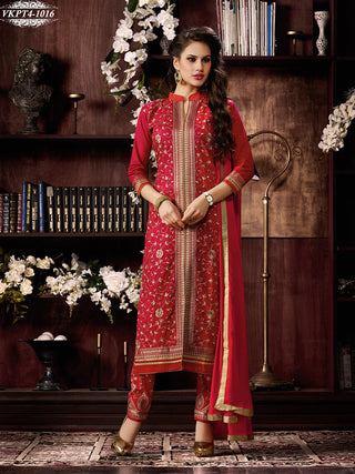 Red straight designer knee length long salwar suits