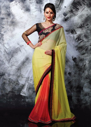 Designer  Georgette Saree With Silky Silk Blouse & Net Sleeves