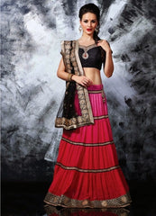 Designer Georgette Skirt With Net Pallu & Silky Silk Blouse