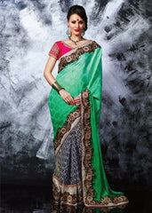 Designer Green Chiffon Saree & Silky Silk Blouse