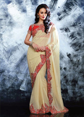 Designer Georgette  Saree & Silky Silk Blouse With Zari/Stone Work