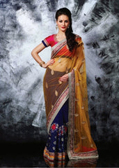 Designer Georgette  Saree With Net Pallu & Silky Silk Blouse