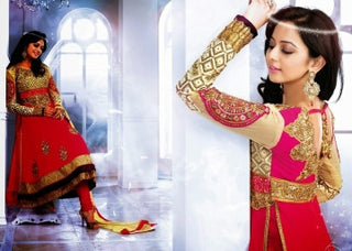 Faux Georgette Salwar Suit in Cream & Red Color